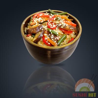 Тяхан с овощами и шиитаки